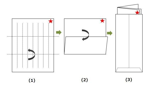 三つ折りの便箋の画像